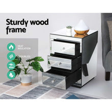 Load image into Gallery viewer, Mirrored Bedside table Drawers Furniture Mirror Glass Presia Silver