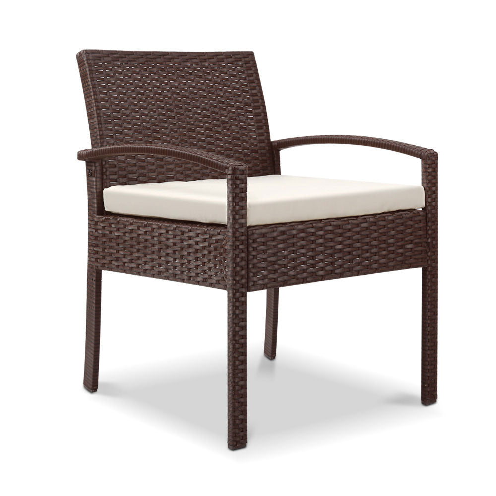 Outdoor Chairs Wicker Dining Chair Patio Garden Furniture Lounge Bistro Set Cafe Cushion  Brown