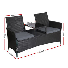 Load image into Gallery viewer, Outdoor Furniture Chair Bench Sofa Table 2 Seat Cushions Wicker Black