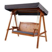 Load image into Gallery viewer, Wooden Swing Chair Garden Bench Canopy 3 Seater Outdoor Furniture
