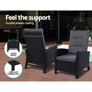 Outdoor Setting Recliner Chair Table Set Wicker lounge Patio Furniture Black