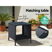 Load image into Gallery viewer, Outdoor Setting Recliner Chair Table Set Wicker lounge Patio Furniture Black