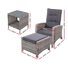 Load image into Gallery viewer, Outdoor Patio Furniture Recliner Chairs Table Setting Wicker Lounge 5pc Grey