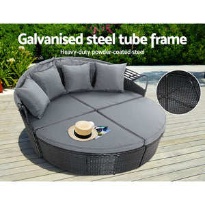 Outdoor Lounge Setting Patio Furniture Sofa Wicker Garden Rattan Set Black