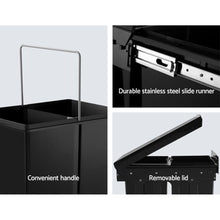 Load image into Gallery viewer, Set of 2 15L Twin Pull Out Bins Kitchen Slide Out Rubbish Waste Basket Black