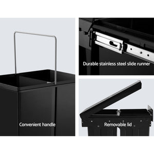 Set of 2 15L Twin Pull Out Bins Kitchen Slide Out Rubbish Waste Basket Black