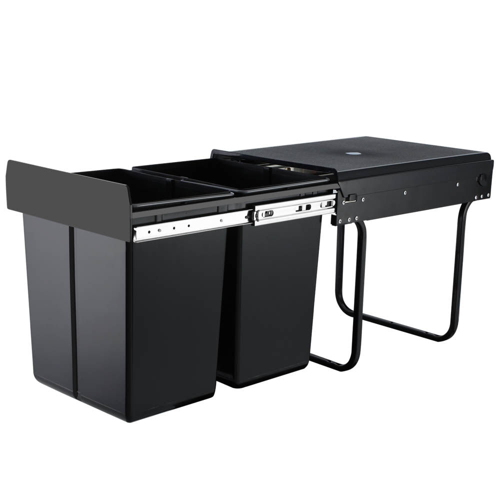 Set of 2 20L Twin Pull Out Bins Kitchen Slide Out Rubbish Waste Basket Black