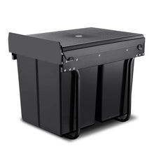 Load image into Gallery viewer, Set of 2 20L Twin Pull Out Bins Kitchen Slide Out Rubbish Waste Basket Black