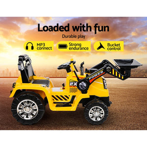 Kids Ride On Bulldozer Digger Electric Car Yellow