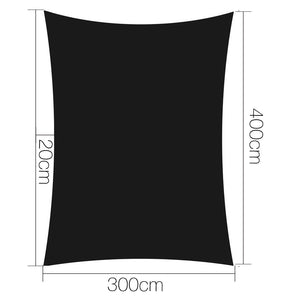 3x4m Shade Sail Sun Shadecloth 280gsm Black