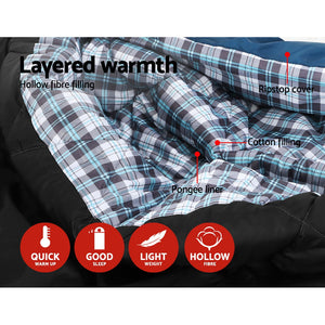 Sleeping Bag Bags Double Camping Hiking -10°C to 15°C Tent Winter Thermal Navy