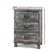 Load image into Gallery viewer, Bedside Tables Side Table Drawers Cabinet Vintage Grey Nightstand Storage
