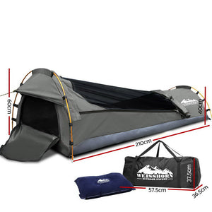 Biker Swag Camping Single Swags Tent Biking Deluxe Ripstop Canvas Grey