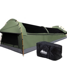 Load image into Gallery viewer, Double Swag Camping Swags Canvas Tent Deluxe Celadon With Mattress