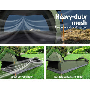 Double Swag Camping Swags Canvas Tent Deluxe Celadon With Mattress