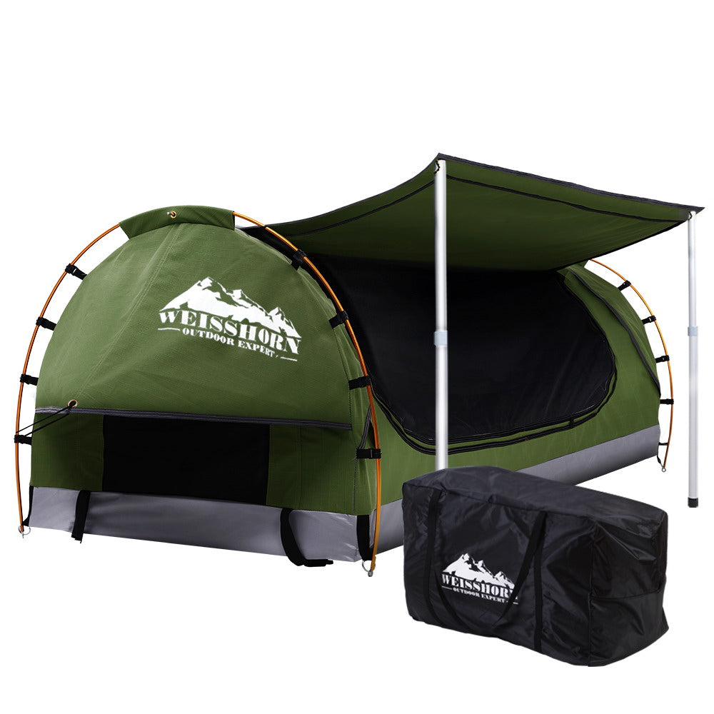 Double Swag Camping Swags Canvas Free Standing Dome Tent Celadon with 7CM Mattress
