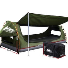 Load image into Gallery viewer, Double Swag Camping Swags Canvas Free Standing Dome Tent Celadon with 7CM Mattress