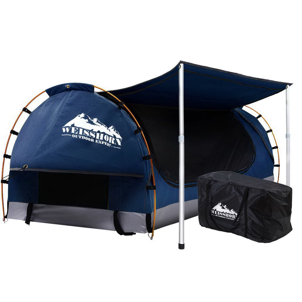 Double Swag Camping Swags Canvas Free Standing Dome Tent Dark Blue with 7CM Mattress