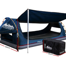 Load image into Gallery viewer, Double Swag Camping Swags Canvas Free Standing Dome Tent Dark Blue with 7CM Mattress