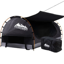 Load image into Gallery viewer, Swag King Single Camping Swags Canvas Free Standing Dome Tent Dark Grey with 7CM Mattress