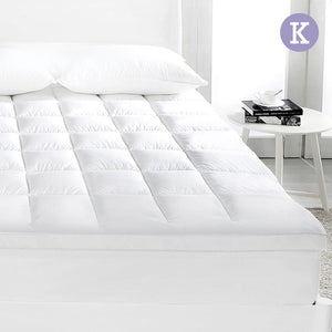 KING Mattress Topper Duck Feather Down 1000GSM Pillowtop Topper