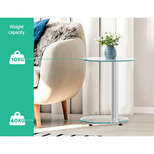 Side Coffee Table Bedside Furniture Oval Tempered Glass Top 2 Tier
