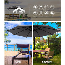 Load image into Gallery viewer, 3M Umbrella with 50x50cm Base Outdoor Umbrellas Cantilever Sun Stand UV Garden Charcoal