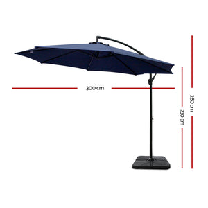 3M Umbrella with 50x50cm Base Outdoor Umbrellas Cantilever Sun Stand UV Garden Navy