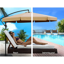 Load image into Gallery viewer, 3M Umbrella with 50x50cm Base Outdoor Umbrellas Cantilever Patio Sun Beach UV Beige