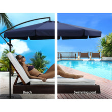 Load image into Gallery viewer, 3M Umbrella with 50x50cm Base Outdoor Umbrellas Cantilever Patio Sun Beach UV Navy