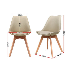 DSW Dining Chairs Retro Replica Eames Eiffel Kitchen Chair Cafe Beige Fabric x2