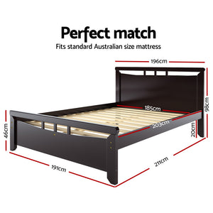 King Size Wooden Bed Frame - Dark Cherry