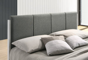 Fabric Upholstered Bed Frame in Grey - King Single