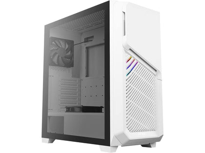 Antec Dark Phantom DP502 FLUX White, F-LUX Platform, 5 x 120mm Fans Included, Tempered Glass Side Panel, Swing Open Front Panel & LED Strips Mid Tower ATX Gaming Case