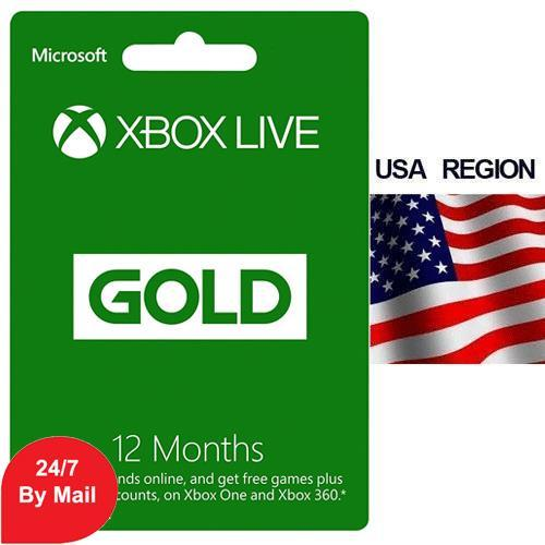 Microsoft Xbox Live 12 Month Membership Gold Card For XBOX ONE and XBOX 360 - US Region
