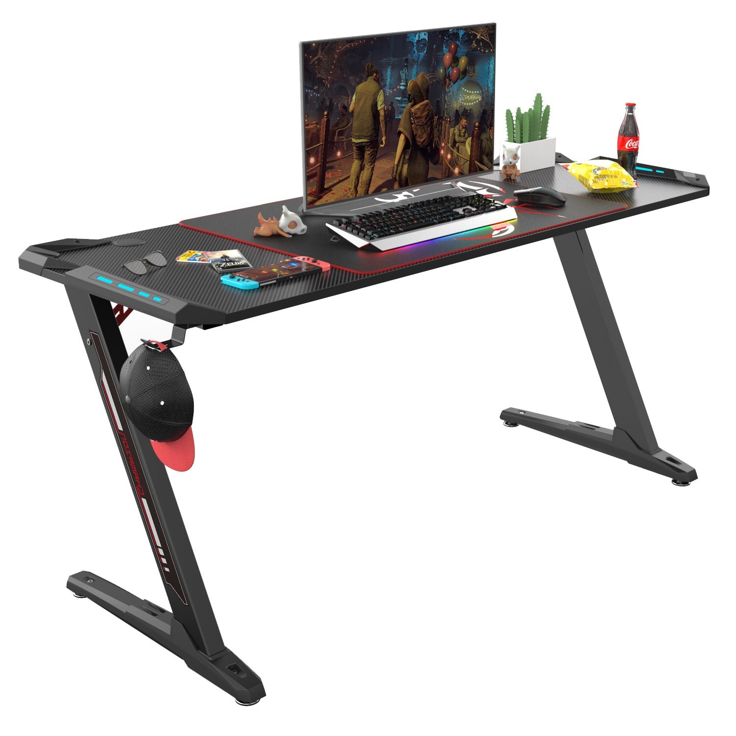 Eureka Ergonomic® 60 inch Z Shaped Large Gaming PC Computer Desk with RGB LED Lights, Free Mouse Pad Controller Stand Headset Hook & Cup Holder for E-Sport Racing Gamer Pro Home Office Gift