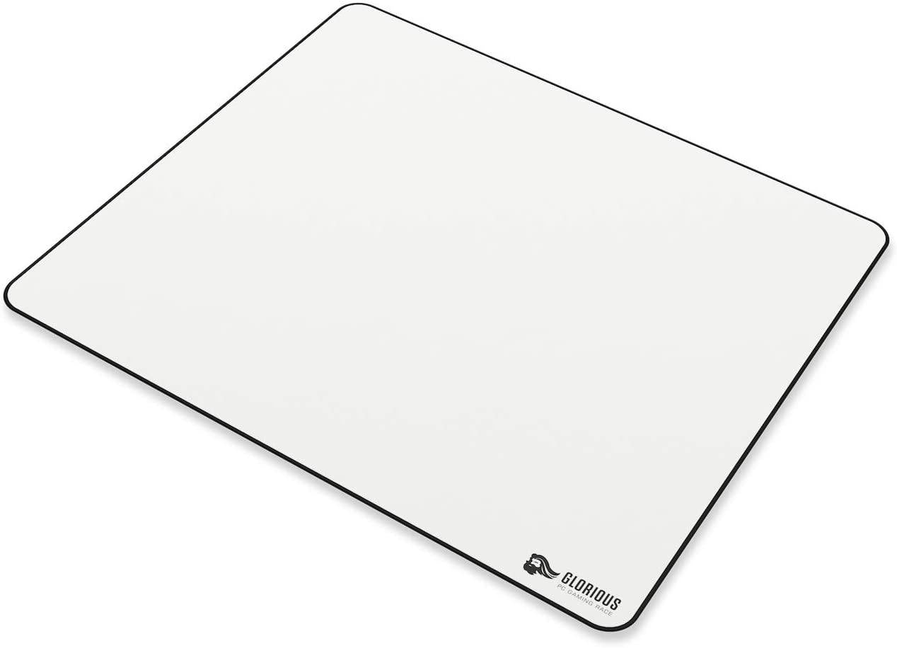 Glorious XL Gaming Mouse Mat/Pad - Large, Wide (XL) White Cloth Mousepad, Stitched Edges | 16