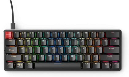 Glorious Modular Mechanical Gaming Keyboard - 60% Compact Size (61 Key) - RGB LED Backlit, Brown Switches, Hot Swap Switches (Black)(GMMK-Compact-BRN)