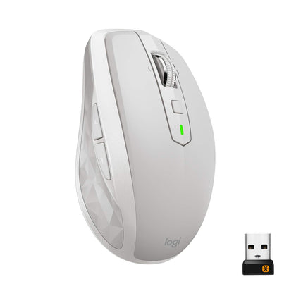 Logitech MX Anywhere 2S Wireless Mouse – Use On Any Surface, Hyper-Fast Scrolling, Rechargeable, Control up to 3 Apple Mac and Windows Computers and laptops (Bluetooth or USB), Light Gray