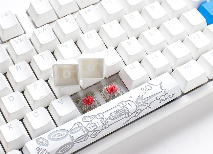 Ducky One 2 TKL RGB Arabic Layout White Gaming Mechanical Keyboard - Cherry MX Red Switch