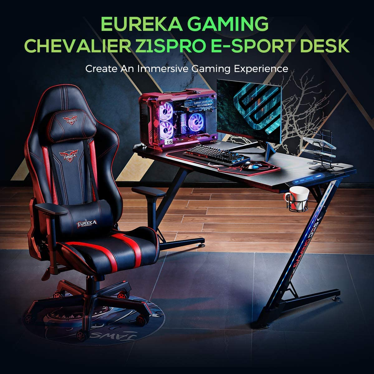Eureka Ergonomic® Z1S PRO Gaming Computer Desk 43.5 inch Z Shaped Home Office PC Gaming Desks Table with RGB LED Lights with Cup Holder Headset Hook, Black