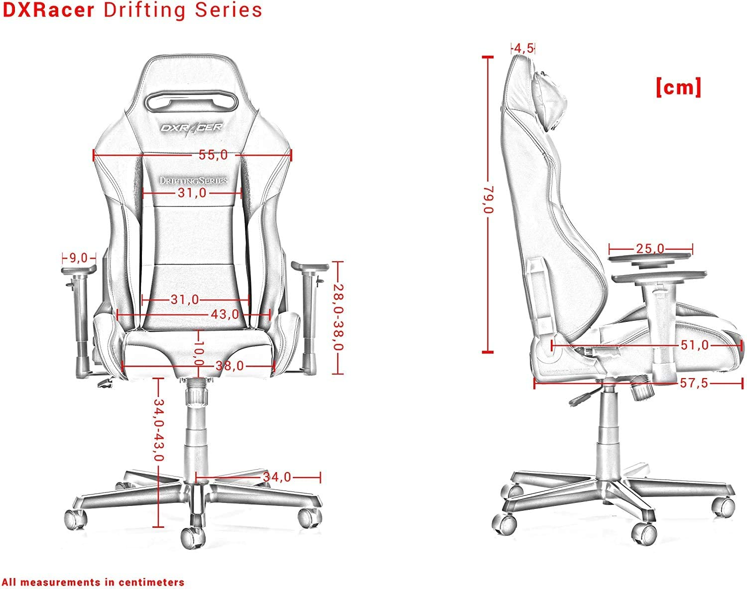 DXRacer Drifting Series OH/DM61/NWB Racing Seat Office Chair Gaming Ergonomic Adjustable Computer Chair with - Included Head and Lumbar Support Pillows (Black, White, Blue)