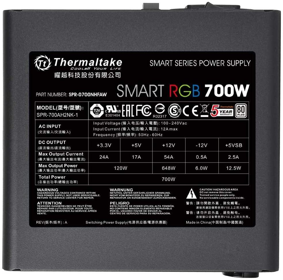 Thermaltake Smart RGB 700 Watt 80+ PSU/Power Supply-PS-SPR-0700NHSAWK-1