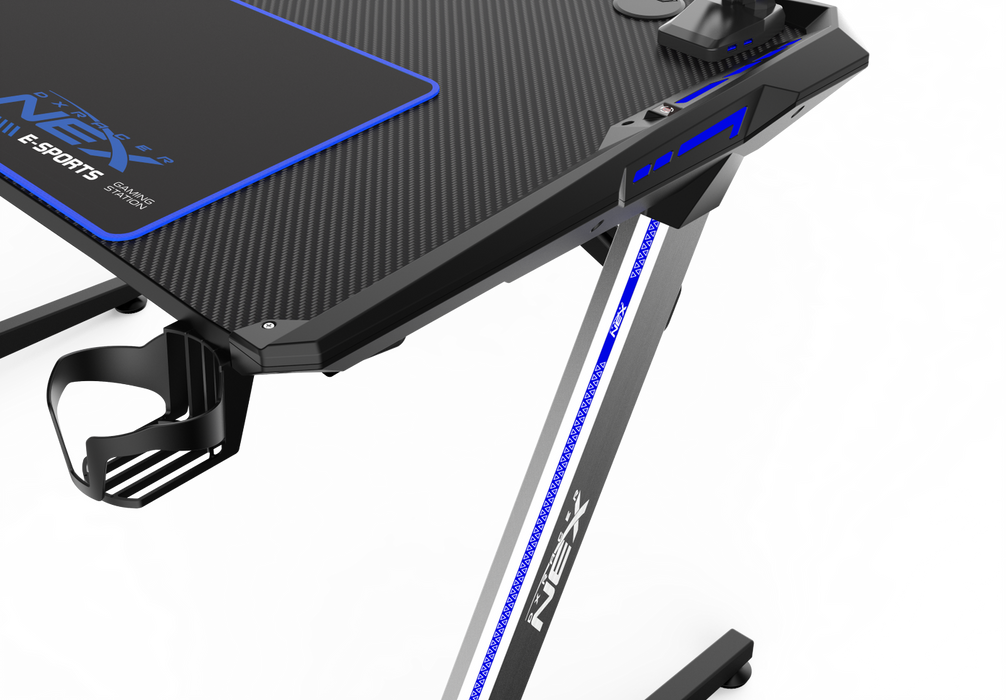 DXRacer NEX Gaming Desk - Black/Silver/Blue