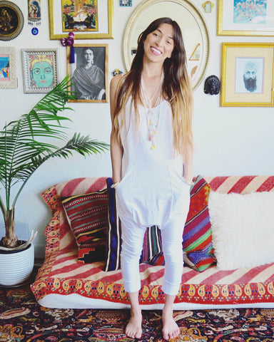 Dhoti Onesie in Kudalini White on Myra Penaloza