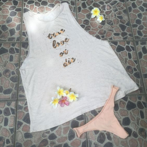 "True Love or Die Drape Tank & Yoga Thongs ~ Tropical PJ""S"