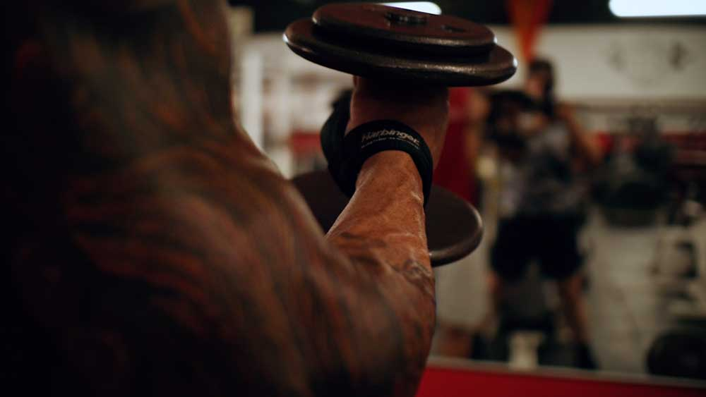 Back and biceps workout hammer curl
