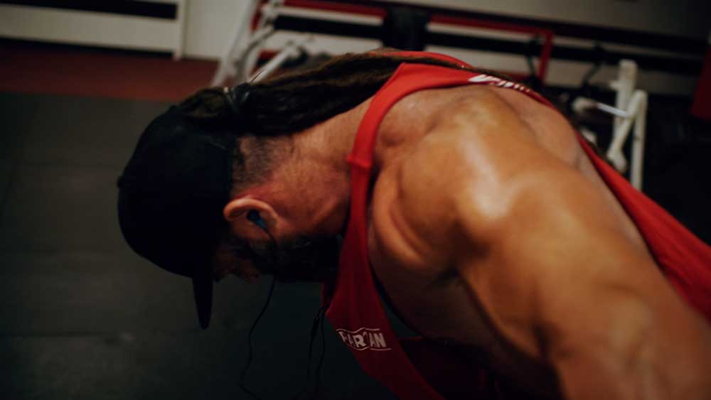 Back and biceps workout rear delt flies