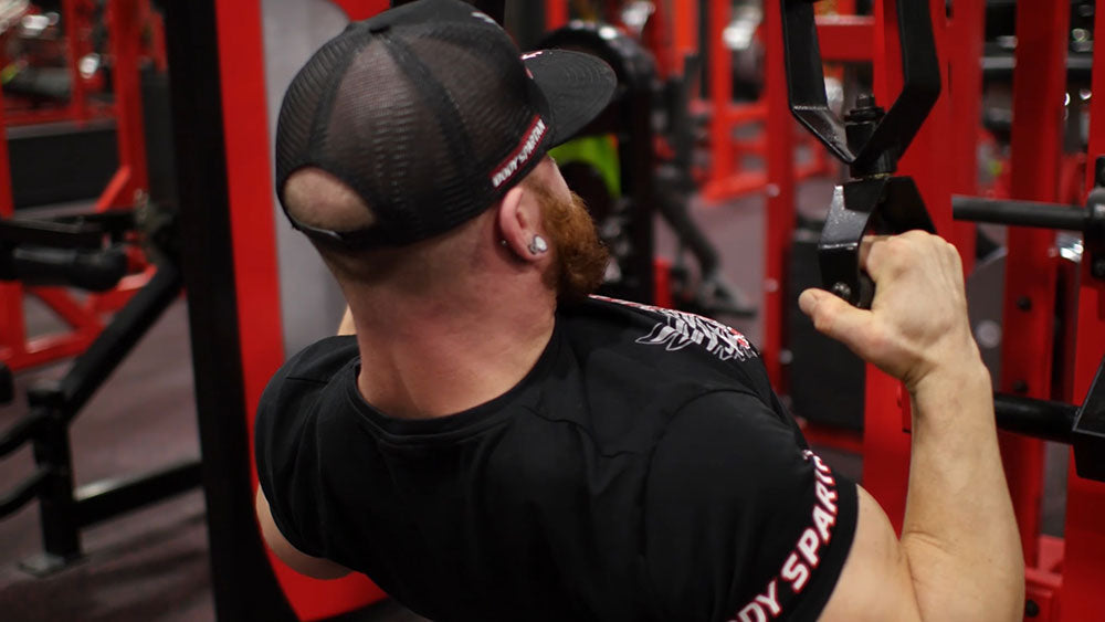 Hammer grip lat pulldowns for back workout