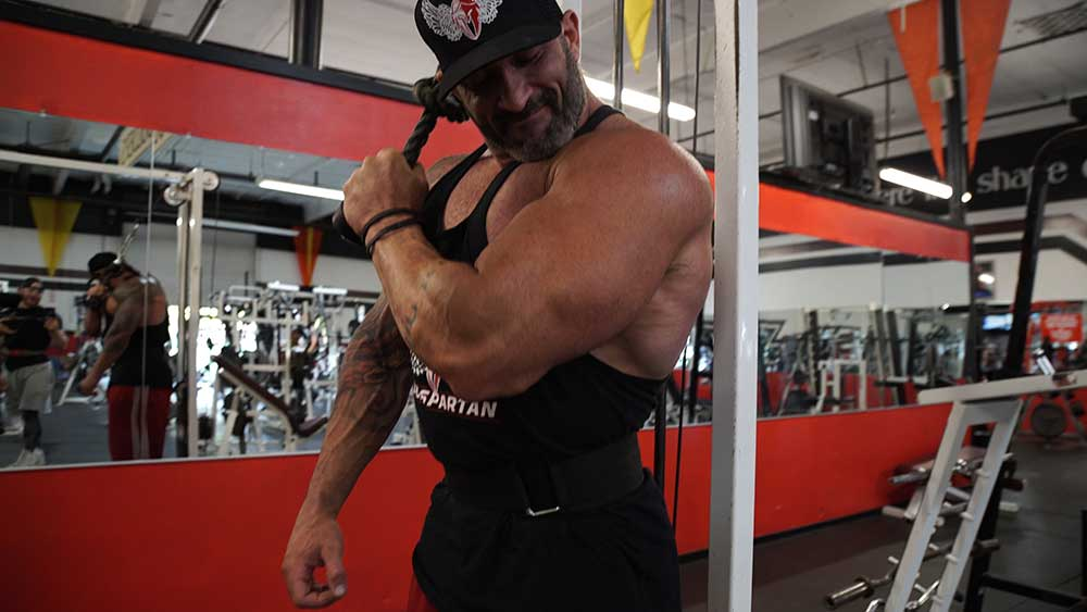 Single arm rope extensions for triceps